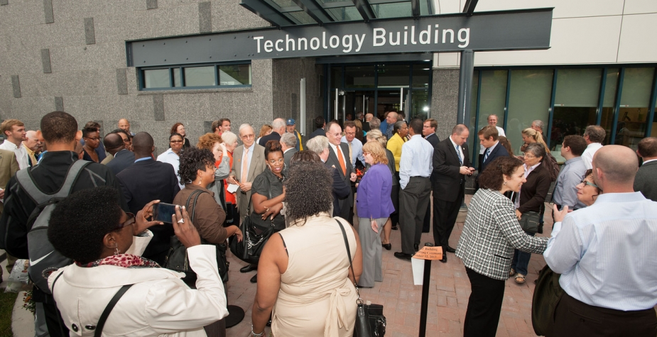 Technology Building ribbon cutting