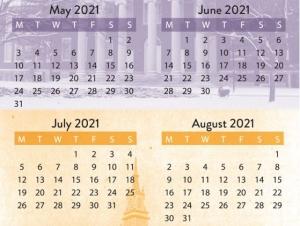 2021 Calendar May, June, July, August